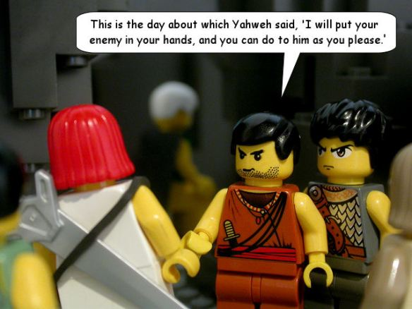 David's men encourage him to take out Saul - from The Brick Testament